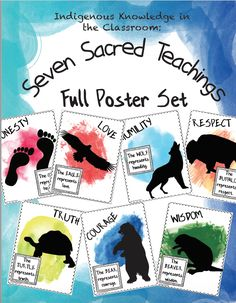 The Seven Sacred Teachings: Full Poster and Activity Set Aboriginal Day, Aboriginal Education, Indigenous Education, Art Education, Preschool Learning Activities, Teaching Kindergarten, Native American Quotes, Forest School, Classroom Posters