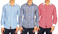 Groupon - Elie Balleh Men's Slim-Fit Shirts in [missing {{location}} value]. Groupon deal price: $19.99 Slim Man, Collars, Casual Outfits, Button Down Shirt, Shirt Dress, This Or That Questions, Cotton, Mens Tops, How To Wear