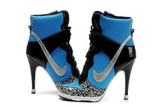 Smooth Productions NY: Fashion Collection of High Heels Black and Blue Nike Dunk High Heels