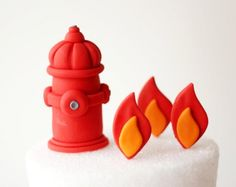 Fondant Firetruck Cake Topper Set - Fondant Fire Hydrant - Firetruck Cake Topper - Firefighter Fondant Topper - Firetruck Party by Les Pop Sweets on Gourmly
