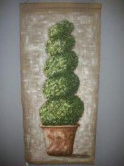 buis peint sur lin, poterie sur lin,arbre