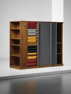 Double wardrobe and room divider for university dorm room -- Le Corbusier and Charlotte Perriand oak, painted oak-veneered wood, plastic, painted metal -- Charlotte Perriand, Le Corbusier, Tall Cabinet Storage, Locker Storage, Kitchen Island Bar, University Dorms, Double Wardrobe, Student Room, Mid Century Furniture