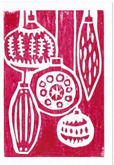 Handmade Woodcut Print Christmas Card - Baubles £2.50
