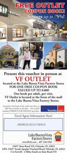 67dc7201e Cupom de desconto Outlet Lake Buena Vista Factory Stores