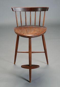 George #Nakashima Bar Stool. Estimate: $1,500/1,800 #midcenturymodern #20thcenturydesign #furniture #michaans  http://www.michaans.com/highlights/2013/highlights_07062013.php