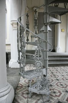 Stair: Heavenly Image Of Home Exterior Decoration Using Outdoor Dark Grey Metal Spiral Staircase Including Dark Grey Wrought Iron Staircase Spindles And Floating Grey Iron Staircase Step, outdoor spiral stairs, wood and metal staircase Iron Staircase, Wrought Iron Stairs, Metal Stairs, Stair Railing, Staircase Design, Spiral Staircases, Iron Railings, Stair Design, Stairs And Doors