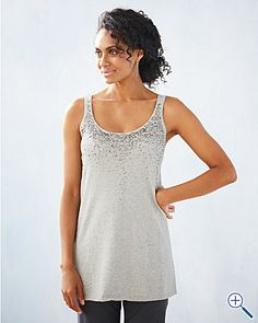fabulous EILEEN FISHER cotton & cashmere with dazzling sequins.....long tank........won nwt's eBay...not for $198.00....