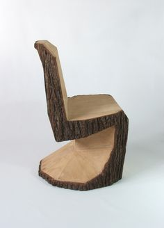 cool chair! made from 1 large log DIY