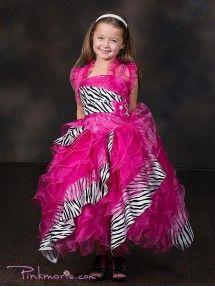 Fushia Gorgeous Organza Ruffles Girl Dress with Zebra Pattern