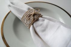 Wedding Napkin Holders/ Rings with Lace and Bow SET of by sabihup