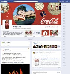 Coca Cola is one of the first companies to use timeline too. Of course it's all about the bottle of the brown sugarwater.look at the company's timeline.it's awesomely large! Facebook Page Cover Photo, New Facebook Page, Facebook Brand, About Facebook, How To Use Facebook, Facebook Timeline Covers, Facebook Business, Facebook Marketing, Marketing Digital
