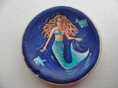 Mermaid Miniature art on Scottish sea pottery by Alienstoatdesigns, $49.00