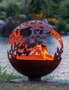 "Wings - 37"" - Butterfly Fire Pit Sphere - Butterflies encircle this wood or gas burning firepit from The Fire Pit Gallery and designed by artist Melissa Crisp."