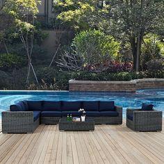 Summon 7 Piece Outdoor Patio Sunbrella® Sectional Set in Gray Navy