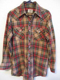 a55e5bec Vintage Lee Plaid Pearl Snap Shirt Cowboy Western Wear Long Sleeve Shirt  Extra Long Tails 16