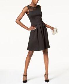Ellen Tracy Petite Illusion-Mesh Fit & Flare Dress - Black 10P