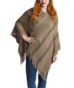 Loving this Taupe Wavy Fringe Hooded Poncho on #zulily! #zulilyfinds