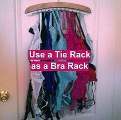Closets and Drawers Organization - Use a Tie Rack as a Bra Rack Bra Organization, Office Supply Organization, Kitchen Organization, Organizing, Bra Storage, Closet Storage, Hanging Bras, Hardware Organizer, Bra Hacks