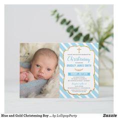 Shop Blue and Gold Christening Boy Photo Invitation created by LollipopParty. Christening Invitations Boy, Baby Boy Christening, Photo Invitations, Invitation Ideas, Baby Boy Photos, Personalised Blankets, Boy Blue, Boys, Baby Boys