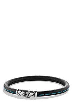 Men's David Yurman 'Chevron' Leather Bracelet - Blue Stitch