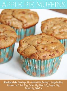 These Skinny Apple Pie Muffins are my absolute FAVORITE! Eat them for a snack, breakfast, dessert... anytime of day, these will be delicious!