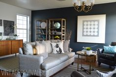 Alicia's Living Room Renovation Reveal - Vintage Revivals iron ore sherwin williams
