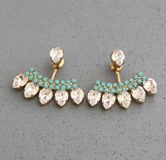 Ear Jacket Earrings White Crystal Turquoise Swarovski by iloniti