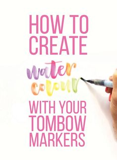 Say It Pretty Designs: September 2015 Create watercolors with your Tombows Hand Lettering Fonts, Watercolor Lettering, Creative Lettering, Lettering Tutorial, Brush Lettering, Watercolor Cards, Watercolor Painting, Watercolors, Calligraphy Supplies