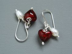 Bleeding Hearts Sterling Silver and Pearl Earrings Featuring Gold Lined Red Murano Hearts by MermaidsPurseJewels on Etsy
