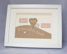 Wedding picture, bride and groom gift,personalised wedding picture, wedding frame, wedding sign, cherish wedding picture by QuillPaperScissors on Etsy
