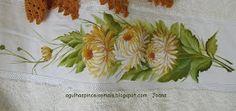 Agulhas e Pinceis: Jogo de toalha crisantemos e folhas