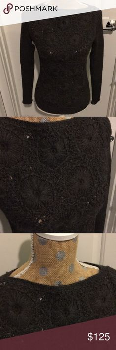 PRADA heavy knit designer sweater. This Prada has knit flower design on the front and ribbing on the back. The knit pattern is a bit see through so would need an undergarment. The color is a rich deep brown green. Very beautiful piece! Maybe worn one time, if at all. Prada💯 Sweaters Crew & Scoop Necks