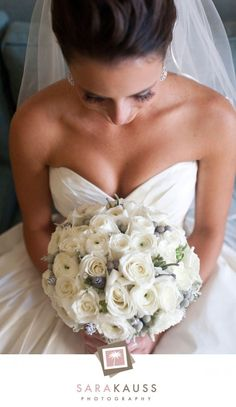 winter white roses and mini grey pine cones bouquet #wedding