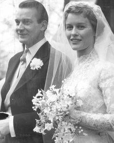 Denholm Elliott and Virginia McKenna wedding 1954