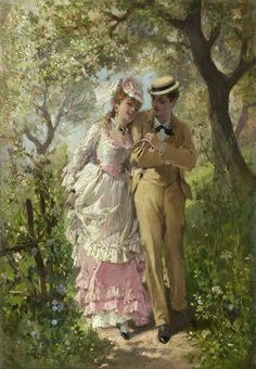 Linder, Philippe Jacques (b,1835)- Couple on Romantic Stroll
