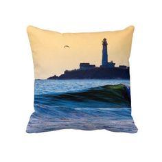 Golden California Coast - Pigeon Point Lighthouse Pillow - fun beach themed decor!