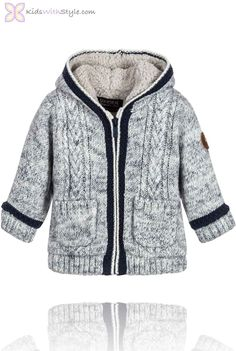 Your baby or toddler boy will be warm for all of his adventures in this Cream and Blue Baby Boy Zip-Up Sweater Jacket. Shop all your favorite  baby fashion trends at kidswithstyle.com Free 2-3 day shipping on orders $75+