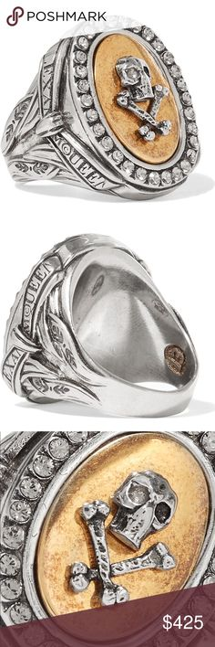"Alexander McQueen Woman's Ring Size 6.5/ 13 NWT Palladium-tone Crystal Ring by Alexander McQueen. Lots of detail and engraving on this gorgeous ""momenti mori"" Ring. Alexander McQueen Jewelry Rings"