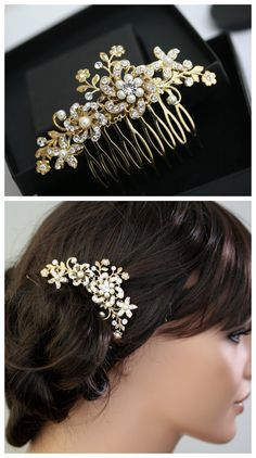 Gold Bridal Hair Comb Sparkly Crystal flower Comb Ivory Pearl Vintage Leaves Wedding Hair Accessories, Sabine