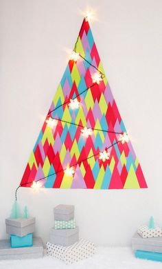 Christmas alternative mural wall make himself a string of lights neon triangle