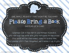 Blue and Grey Chalkboard Elephant Baby Shower Book Request Cards - PRINTABLE!!!