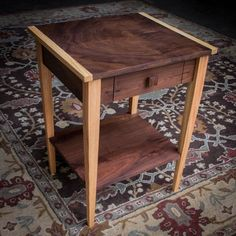 x Shaker-Inspired Nightstand End Side Accent Table w Drawer, Resting Shelf & Breadboard Ends Custom Made from American Hardwoods Furniture Projects, Furniture Plans, Wood Furniture, Wood Projects, Woodworking Plans, Woodworking Projects, Shaker Style Furniture, Quarter Sawn White Oak, Wood Sample