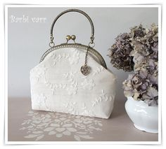 Vintage wedding (bridal) bag with lace.
