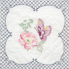 """Stamped Quilt Blocks 18""""X18"""" 6/Pkg-Butterfly Picture"""