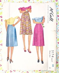 McCall 5174 - Vintage 1940s Pleated Skirt Pattern by Fragolina on Etsy