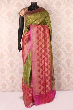 #Mehendi #green multicoloured pure banarasi silk #pretty saree with hot #pink & antique gold border -SR12085