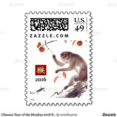 2016 Chinese Year of the Monkey Postage Stamps with traditional Asian painting of the monkey by Japanese artist Hashimoto Kansetsu ( 1883 - 1945). Matching cards, postage stamps, traditional Chinese red envelopes and other products available in the Chinese New Year / Year of the Monkey Category of the artofmairin store at zazzle.com
