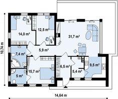 One story house plans - Houz Buzz Small Modern Home, Modern Homes, Minimal Living, One Story Homes, First Story, New House Plans, Story House, Traditional House, Modernism