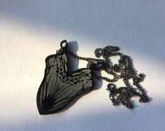Art Nouveau Doe Deer Head Necklace. Laser cut by EmilyMAParkin