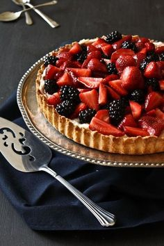 berry mascarpone almond tart | by what shes having